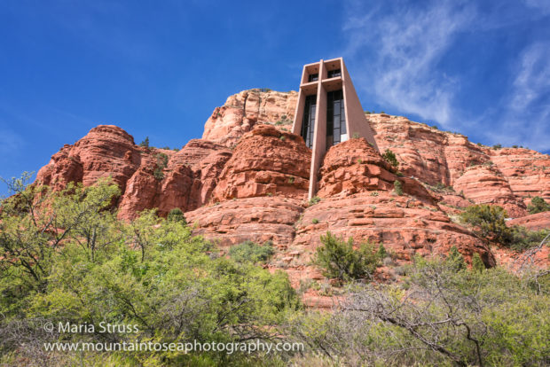 Chapel of the Holy Cross is a Roman Catholic Church that was built into the side of buttes in Sedona from a design by Marquerite Staude, a student of Frank Llord Wright. The church is a tourist favorite for its unique location and beautiful modern architecture.