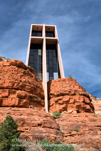 A close up view of Chapel of the Holy Cross church in Sedona
